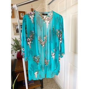 L&B Lucky & Blessed Southwestern Boho Kimono Small